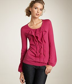 ruffle front sweater Ann Taylor