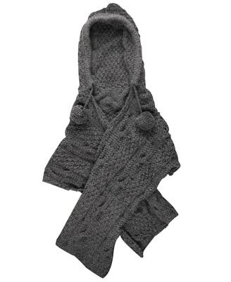 pom pom hooded shawl