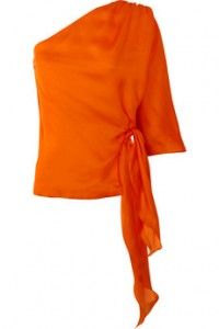 020096fdddc0 An elegant one shoulder blouse by Halston Heritage. This vibrant orange  silk blouse is the perfect addition to your wardrobe!
