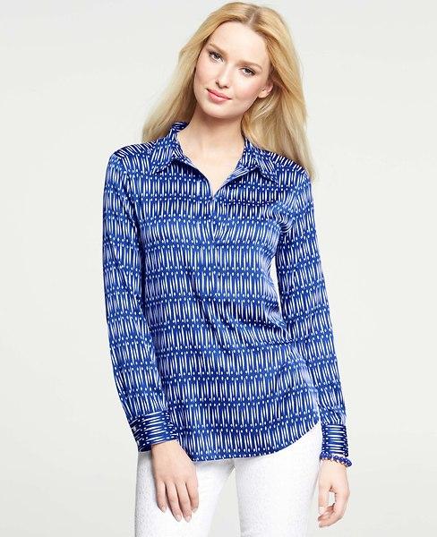 Ikat dash dot print popover shirt