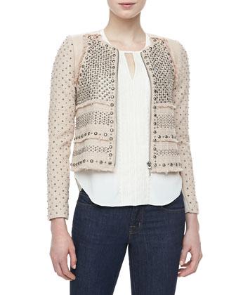 studded short tweed blazer