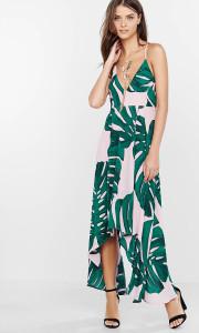 palmleaf print maxi dress