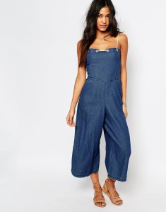 boohoo chambray denim culotte jumpsuit